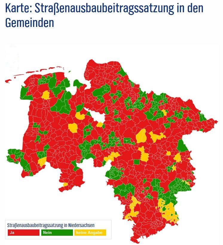Karte Straßenausbaubeitragssatzung in den Gemeinden